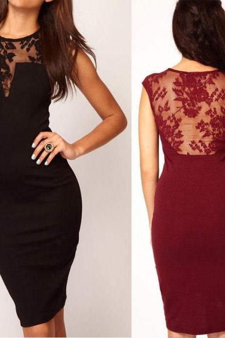 Sexy Women Lace Sleeveless Backless Bodycon Mini Slim Dress Party Evening Dress