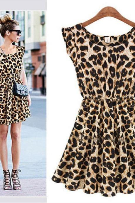 Fashion Women Leopard Casual Evening Cocktail Party Mini Dress Summer Dresses