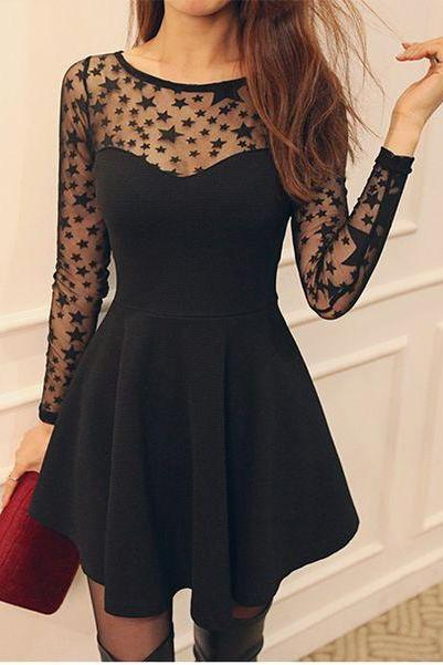 Cute Black Star Pattern Long Sleeve Dress