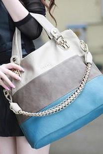 Blue Fashion Color Match Shoulder Tote Bag for woman