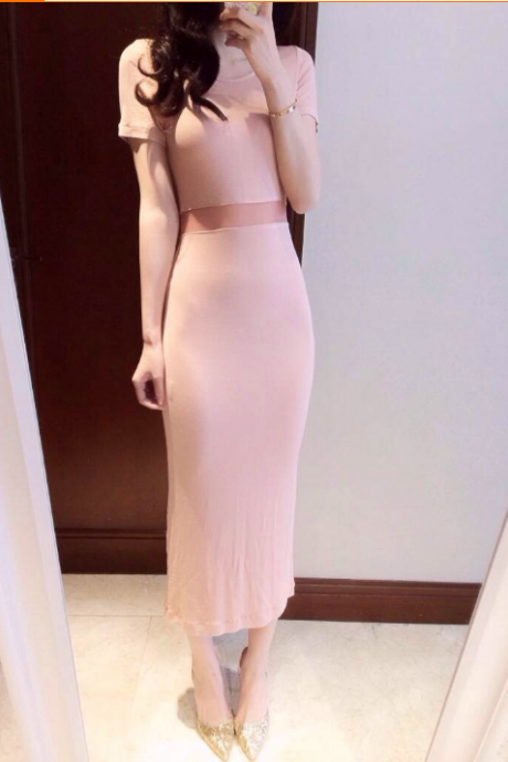 In the summer of 2015 the new dress sexy curve of the waist perspective spelling a gauze dress YD