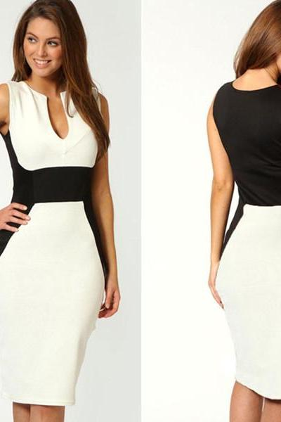 White Contrast Panel Sheath/Column V-neck Midi Bodycon Dress Prom Dress/Party Dress