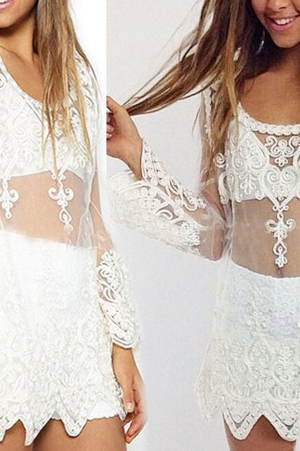 White Mesh Long Sleeve Blouse Featuring Lace Embroidery and Uneven Hems