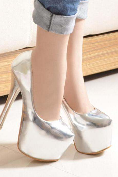 2015 in Europe and the 3 color candy color paint waterproof platform heels