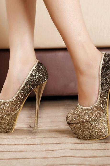 2015 the European and American sexy sequins gold heels