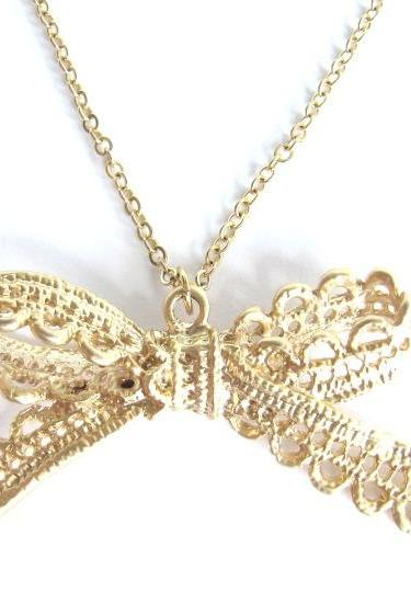 Gold Bow Necklace - Lace RibbonCharm - Gold - Tiffany
