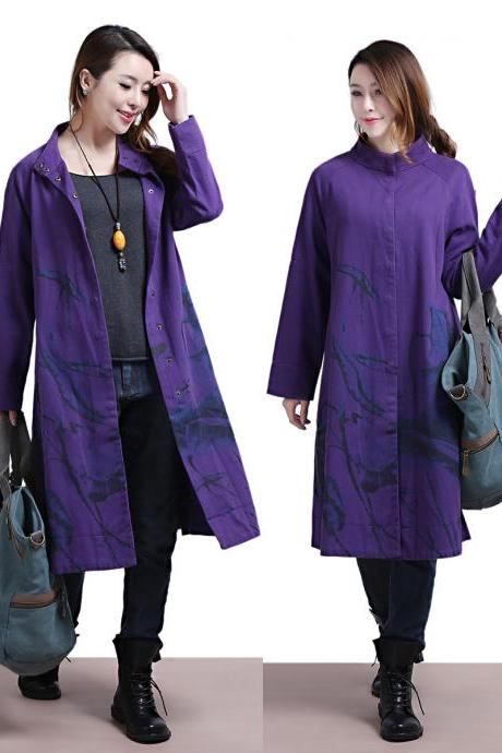 Purple long coat fashion women winter coat