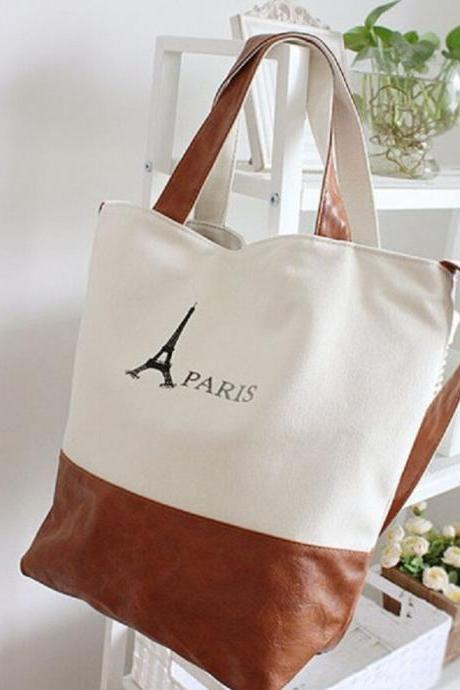 2015 the European and American fashion tower package neutral canvas bag One shoulder aslant bag Female canvas bag