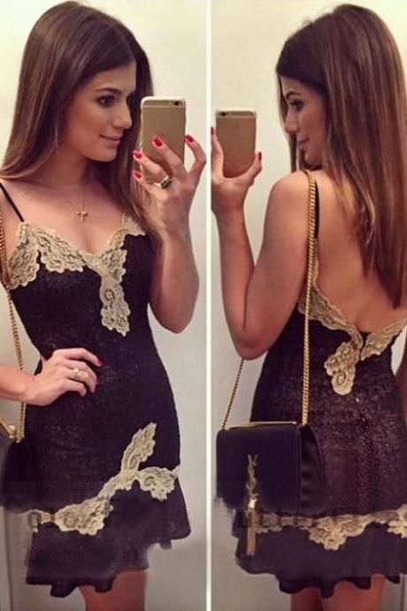 Stylish Sexy Lady's Black Strap Backless Party Cocktail Evening Mini Dress