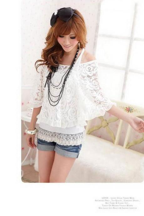 Women Fashion Casual Loose Lace Batwing Tops Blouses Tank Top T-shirt 2-Piece