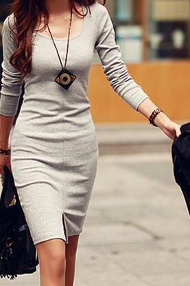 Casual round neck long-sleeved dress FG42815JK