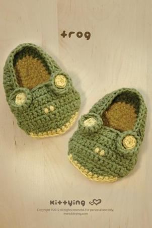 Frog Baby Booties Crochet PATTERN, SYMBOL DIAGRAM (pdf) by kittying