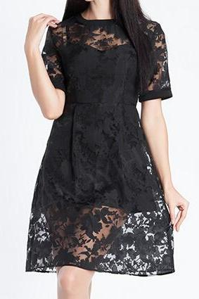Temperament short-sleeved embroidered organza dress FHG42817YT