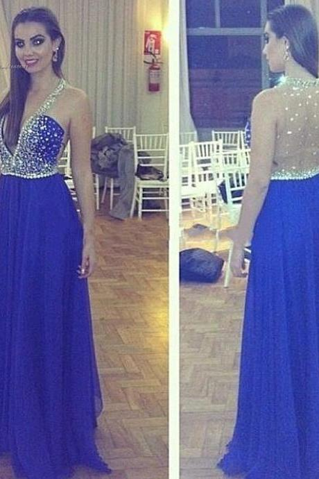 Royal Blue beaded deep V neck beaded sheer sexy prom dresses,long evening dress,formal party dress elegant