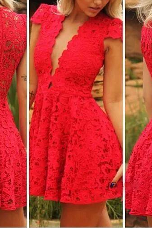 Beautiful V Neck Red Lace Dress AX08ax