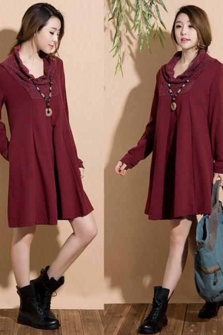 Dark red cotton long sleeved sweater dress