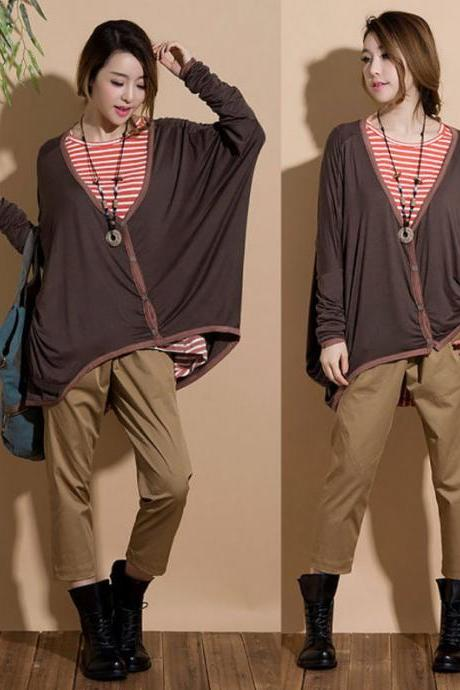 Asymmetric thin section bat sleeve loose cardigan