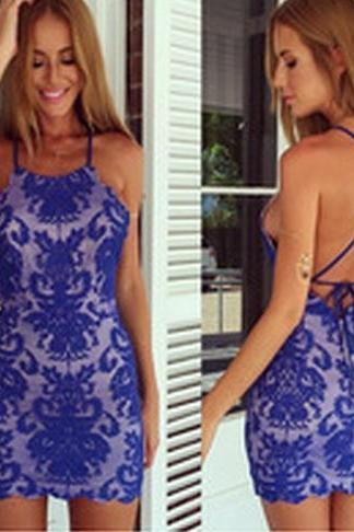 SEXY BLUE LACE DRESS WY