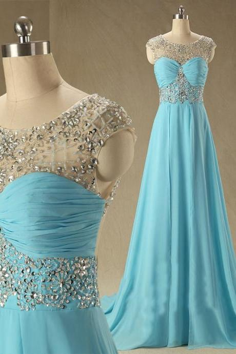 New Arrival Custom Cap Sleeve Blue Chiffon A Line Floor Length Long Evening Prom Party Dresses