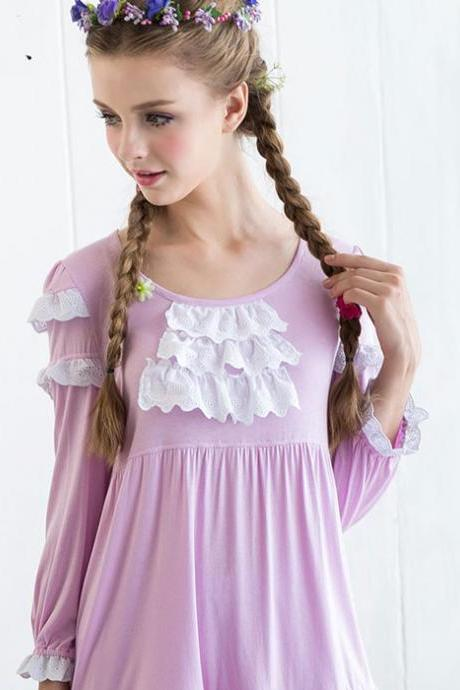 nICE Embroidery Lace Long-sleeved Pajamas