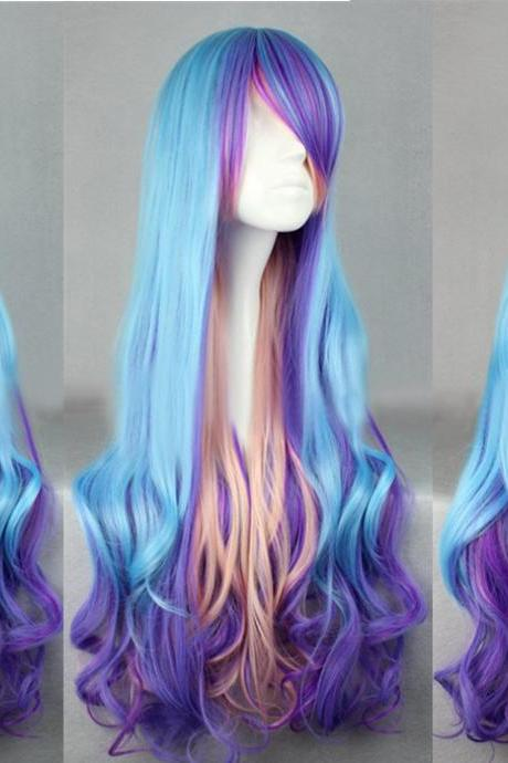 Unique Handmade Blue Purple And Pink Multi-color Curl Long Lolita Wig Japanese Wig Anime Cosplay Wig