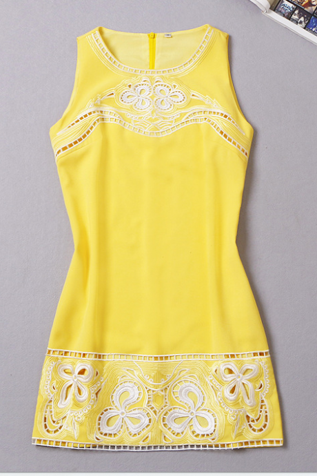 Embroidery yellow sundress dress NBE