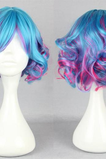 Style Handmade Blue Purple And Pink Multi-color Curl Short Lolita Wig Japanese Wig Anime Cosplay Wig