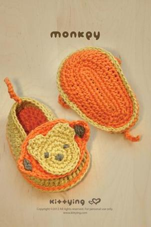 Monkey Baby Booties Crochet PATTERN, SYMBOL DIAGRAM (pdf) by kittying