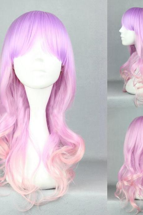 Bright Mixed Fuchsia and Pink Medium Lolita Cosplay Wig