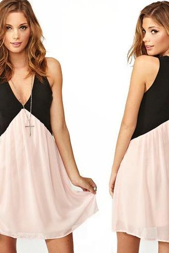 New Women Fashion Sexy Deep V-neck Stitching Back Hollow Chiffon Vest Dress