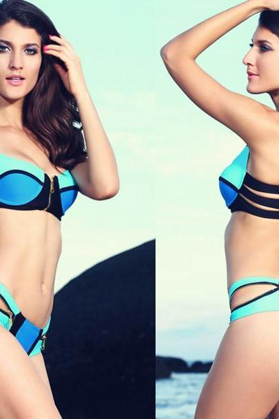Zip Decor Color Block Blue Bikini Set Women Swimwear Bathing Suits