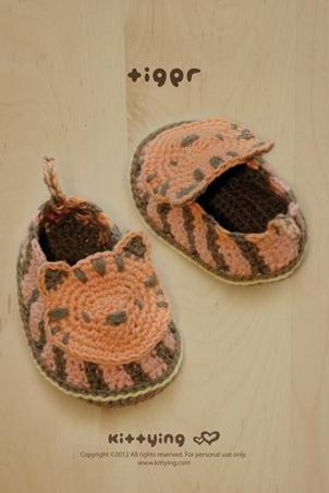 Tiger Baby Booties Crochet PATTERN by Kittying
