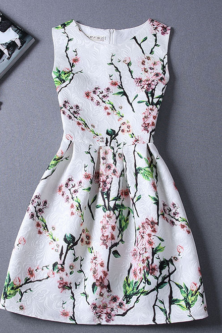 Retro print sleeveless vest dress FG42915JL