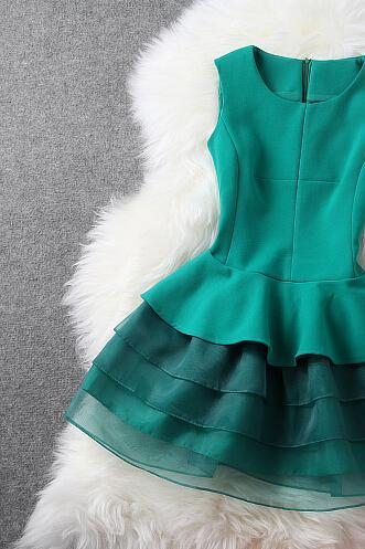 Organza cake skirt temperament of cultivate one's morality show thin green dress