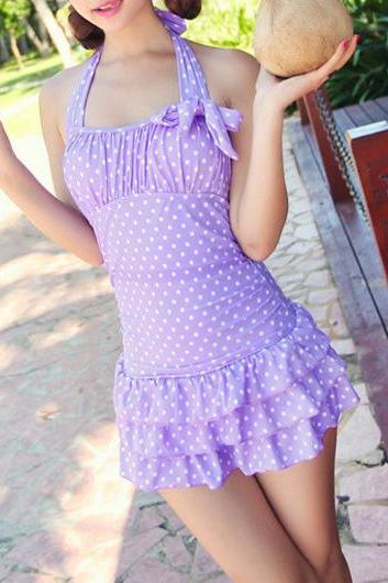 Cute Polka Dot Halter Flounce One Piece Swimwear - Purple
