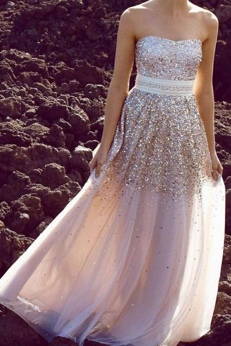 Sexy Sweetheart Prom Dresses, Sequin Modest Strapless Long Prom Dress, Evening Dress, Party Dress, Prom Dresses 2015, Charming Evening Dresses, Wedding Dresses