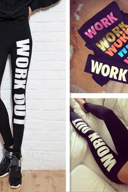 FREE SHIPPING Women's Sexy Floral WORK OUT Print Slim Fit Elastic Cotton Yoga Gym Sports Fitness Leggings Pants