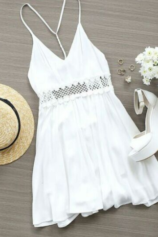 Fashion white printed lace dress SDF43009UY