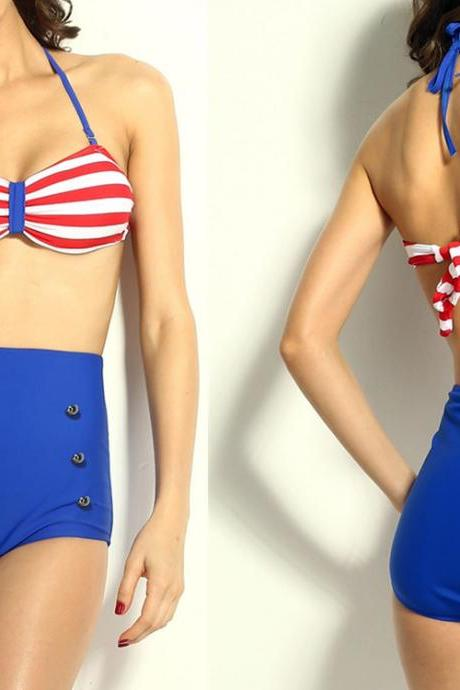 Top Fashion Striped Top Pin up High-waisted Bikini Swimwear