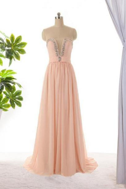 Pink Bridesmaid dress, long bridesmaid dress, long prom dresses ,beading dress ,evening dress ,formal dress, custom dresses ,blush pink dress, BD3002