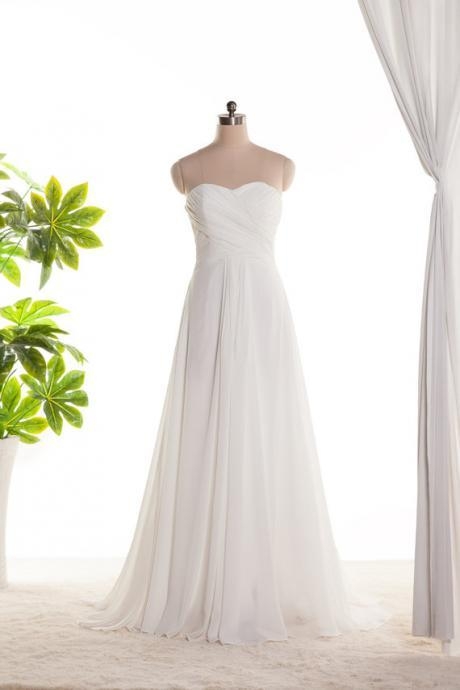 White ivory bridesmaid dress, long bridesmaid dress ,sweetheart bridesmaid dress, chiffon dress ,floor length dress, evening dress, formal dress, BD3003