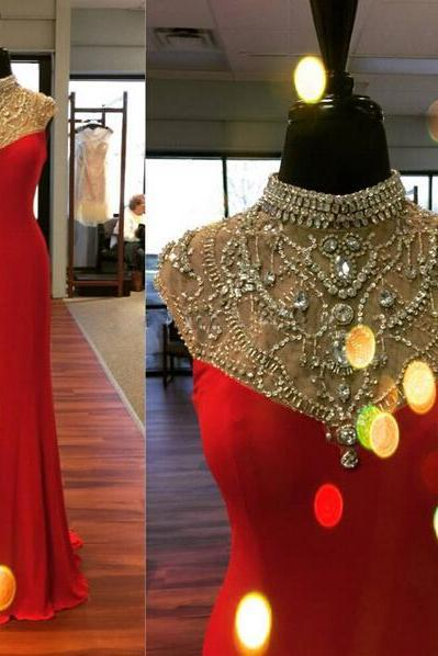 red prom dress, cap sleeve prom dress, elegant prom dress, charming prom dress, handmade prom dress, affordable prom dress, BD220