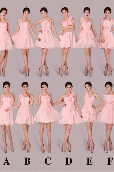 pink Bridesmaid Dresses, Mismatched Bridesmaid Dresses, chiffon Bridesmaid Dresses, Inexpensive Bridesmaid Dresses, CM455