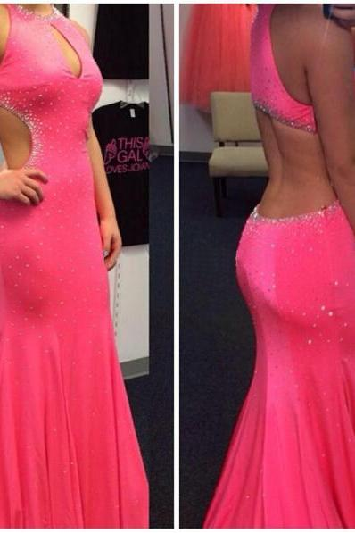 pink prom dress, backless prom dress, sexy prom dress, chiffon prom dress, inexpensive prom dress, pretty prom dress, BD231