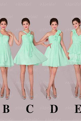 mint Bridesmaid Dresses, affordable Bridesmaid Dresses, short Bridesmaid Dresses, chiffon Bridesmaid Dresses, CM472