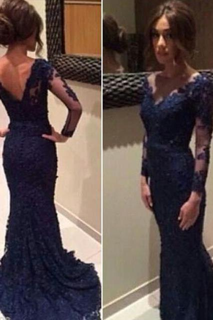 Long Sleeves Dark Blue Lace Mermaid Prom Dresses,V Neck Navy Blue Long Prom Dress,Formal Evening Prom Gowns,Mother's Dress PD036
