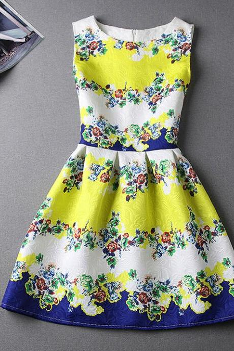 Retro round neck sleeveless princess dress FG5111JK