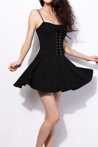 Black Spaghetti Strap Lace Up Bustier Dress
