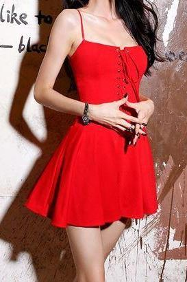 Red Spaghetti Strap Lace Up Bustier Dress