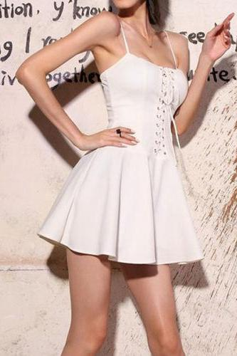 White Spaghetti Strap Lace Up Bustier Dress